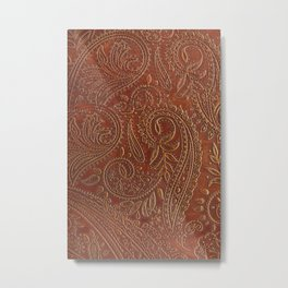 Rusty Tooled Leather Metal Print