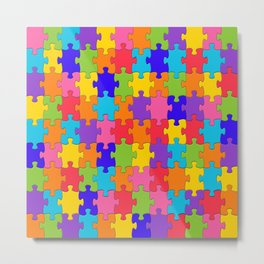 Multicolored Jigsaw Puzzle Metal Print