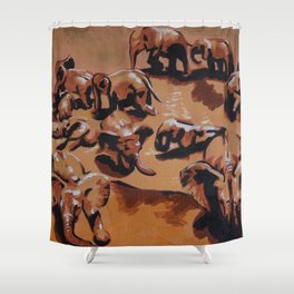 Elephant party (left) Shower Curtain