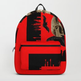 HALLOWEEN BAT INFESTED HAUNTED SKULL RED ART DESIGN Backpack