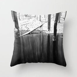 Snowing on water Throw Pillow