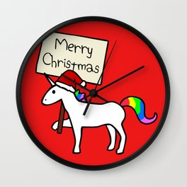 Merry Christmas Unicorn (Red Background) Wall Clock