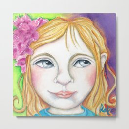 Bella Little Girl Portrait with Flowers in her hair Metal Print