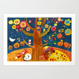 November... The bears usually dreams about the Spring. Art Print