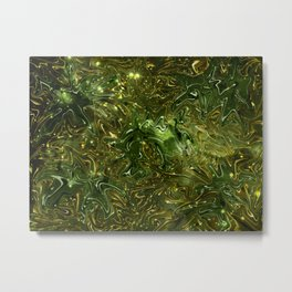 The Wolves Hidden in the Jade Green Galaxy Metal Print