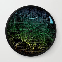 Rochester, NY, USA, City, Map, Rainbow, Map, Art, Print Wall Clock