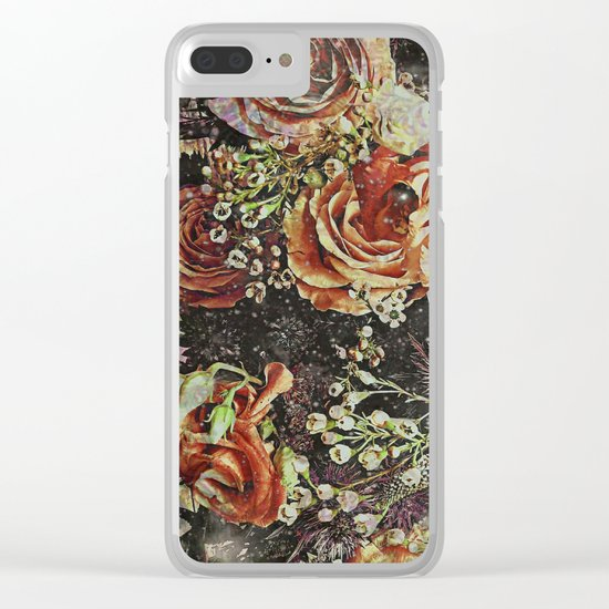 Dramatic Winter Flowers Clear iPhone Case