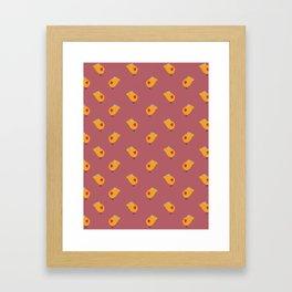 Sunny Family girl hand drawn home decor and textile design kids pattern on terracotta color Framed Art Print
