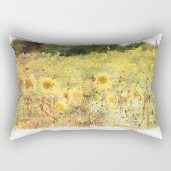 Field of Sunflowers Rectangular Pillow