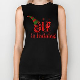 Elf In Training Stocking Cap Christmas Elves Santas Helpers Biker Tank