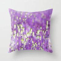 lavender Throw Pillows featuring Lavender by Paula Belle Flores