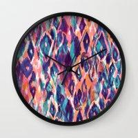 ikat Wall Clocks featuring Mystical Ikat by Nikkistrange