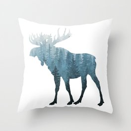 Misty Forest Moose Throw Pillow