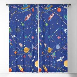 Space Rocket Pattern Blackout Curtain
