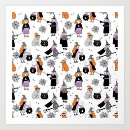 Witches halloween pattern cute cat cauldron broomsticks magic spells Art Print