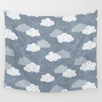 rain Wall Tapestries featuring RAIN CLOUDS by Daisy Beatrice