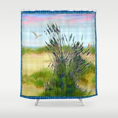 Plaid Beachscape with Seagrass Shower Curtain