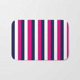 Stripes - Navy, White, Pink Bath Mat