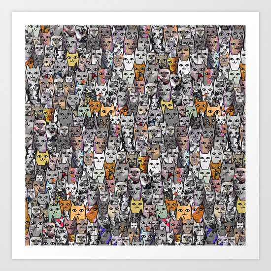 Gemstone Cats - Gold Art Print