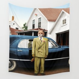 Mr. Fox posing with his new car Wall Tapestry