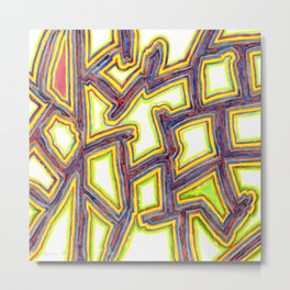 Outlined Fancy White Shapes Pattern Metal Print
