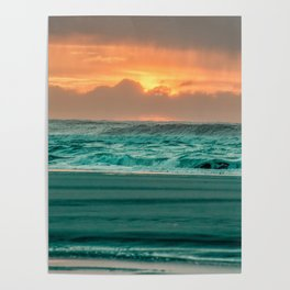 Turquoise Ocean Pink Sunset Poster