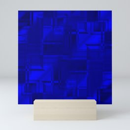 Metallic pattern of sapphire squares with hazy texture wrapping frames.  Mini Art Print