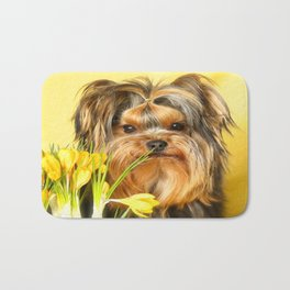 Spring Yellow Crocuses With Yorkie Puppy #decor #society6 Bath Mat