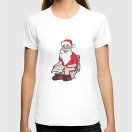 Santa in toilet T-shirt