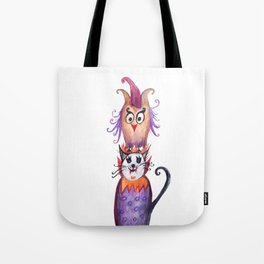 Owl and Cat Halloween Friends Tote Bag