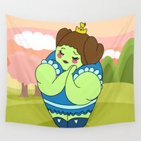 muscle Wall Tapestries featuring Kokeshi Princess Muscle by Pendientera