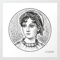 jane austen Art Prints featuring Jane Austen by Alyssa Szatny