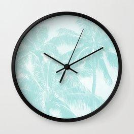 Palm Trees Cyan Kihei Maui Hawaii Wall Clock