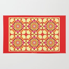 World Citizen Mandala Tiled - Red Yellow Rug
