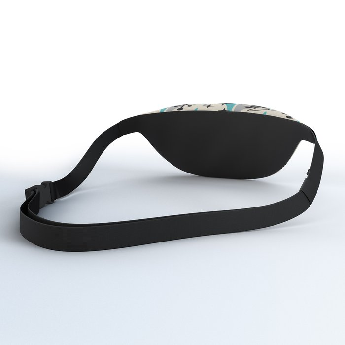 Mid Century Modern Cosmic Boomerang 726 Black Turquoise and Gray Fanny Pack