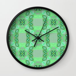 Adorable Geometric Quilt in Retro Lime and Grey Wall Clock