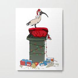 Xmas Bin Chicken Metal Print