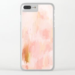 Abstract minimal peach, millennial pink, white and gold painting Clear iPhone Case