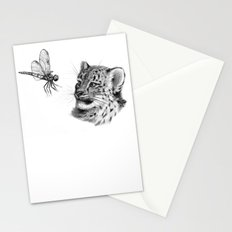 Snow leopard cub and dragonfy G148 Stationery Cards