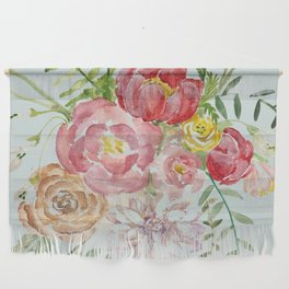 Bouquet of Spring Flowers Light Aqua Wall Hanging