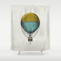 hot air balloon Shower Curtains featuring Vintage Hot Air Balloon by Juste Pixx Designs