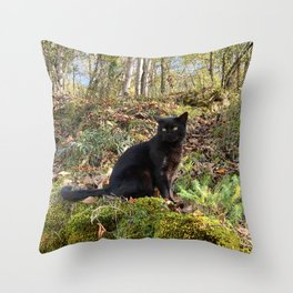 black cat in the forest Throw Pillow