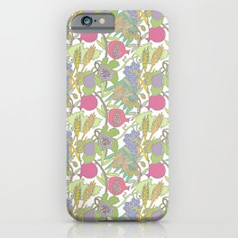 Seven Species Botanical Fruit and Grain with Pastel Colors iPhone Case