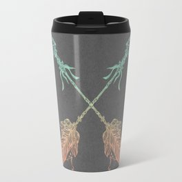 Tribal Arrows Turquoise Coral Gradient on Gray Travel Mug