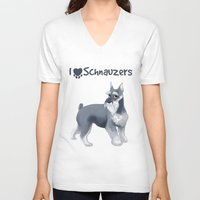 schnauzer V-neck T-shirts featuring Schnauzer by Bark Point Studio