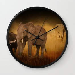 Elephants In The Tall Grass Wall Clock