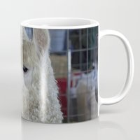 alpaca Mugs featuring White Alpaca by Deborah Janke
