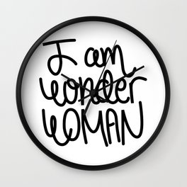 Woman power inspiration quote in black and white Wall Clock