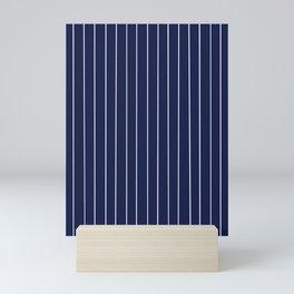 Navy Blue with White Pinstripes Mini Art Print