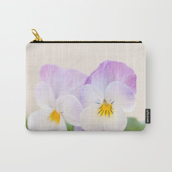 Spring Love #1 - Soft violet-white Pansies #decor #art #society6 Carry-All Pouch